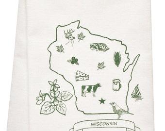 NEW Wisconsin organic  tea towel