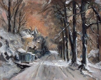 Country Estate in Winter 8x10 Canvas Giclee Print of Original Oil Painting by Kathleen Farmer Denver Artist