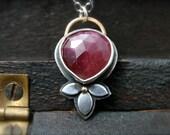 crimson heart … genuine ruby pendant