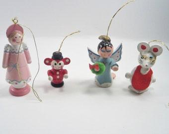 Vintage Christmas Ornaments - Retro Wooden Ornaments - Set of 4 - Angels - Mouse- Monkey
