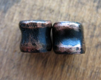 Hammered Copper Tube Bead Pair in Soot Black Patina