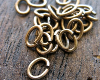 6mm x 4mm 20 gauge Antiqued Brass Jump Rings - 20 pieces