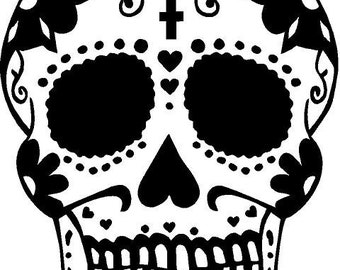 Sugar Skull Day of the Dead Smiling Skeleton Vinyl Decal Sticker in 22 inch tall size by Tonyabug Sticker Momma