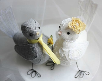 Wedding Cake topper Love Birds - Love Birds Wedding Cake Topper - Fabric Bird cake topper - Customized Order