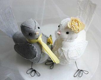 Birds Cake topper - Love Birds Wedding Cake Topper - Fabric Bird cake topper