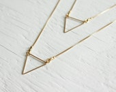 Gold Triangle Necklace on 14kt gold filled necklace - acommonthread