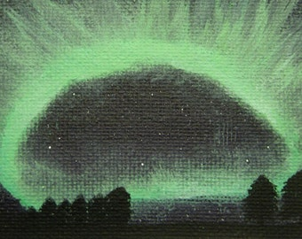 Northern Lights original ACEO - small acrylic art of the Aurora Borealis, shining green in the night sky