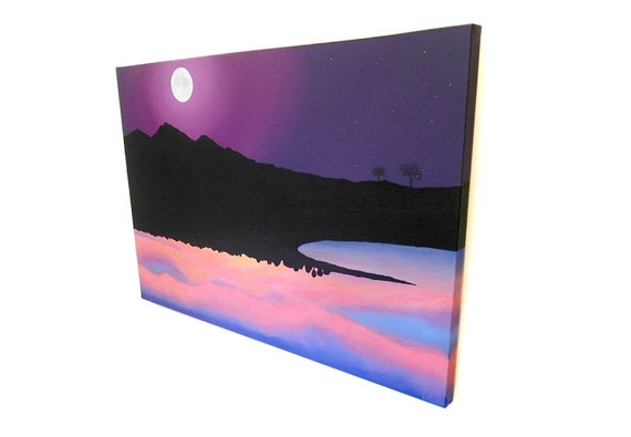 Landscapes of Opposite Sides of the World original painting - large acrylic art of night in the UK and sunrise in Australia (UK only)