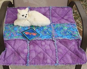SALE--Purple and Blue Cat Blanket, Cat Bed, Purple Cat Bed, Travel Cat Mat, Luxury Cat Bed, Colorado Catnip Blanket. Custom Cat Bed