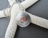 Strength Charm Sterling Silver and Copper Pendant, Charm necklace, symbol necklace, silver necklace,personalized necklace