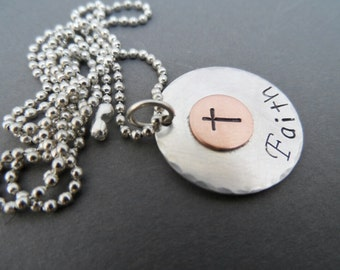 Faith Sterling silver necklace, Silver Necklace, Pendant, Faith Necklace, Cross Necklace, Inspirational Necklace