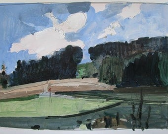 Course in August, Original Landscape Painting on Paper, Stooshinoff