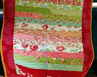 Baby Quilt Handmade, Cottage Florals, Stripes, Scumptious, Red, Lime, Flannel, Blue Ticking, Cotton, Cuddly, Soft, Crib, Stroller Blanket