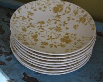 Sheffield Golden Meadow Dessert Plates.  Set of Eight.