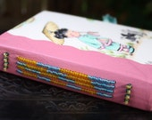 Asian Girl with Kittens and Umbrella Fabric and Beaded Leather Spine Blank Book Art Journal