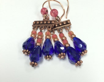 Royal blue copper chandelier earrings