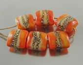 Silvered Orange Coral Organic Handmade Glass Lampwork Beads