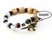 Dinosaur Party Favor Charm bracelet. Wood beads, Personalized name bracelet. The cutest dinosaur you've ever seen! Party Favor for boys.