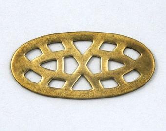45mm Raw Brass Open Work Oval (2 Pcs) #69