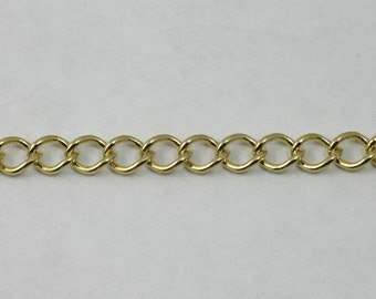 Bright Gold, 8mm x 7mm Curb Chain CC179
