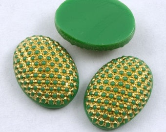 13mm x 18mm Gold on Green Oval Cabochon #XS3-J