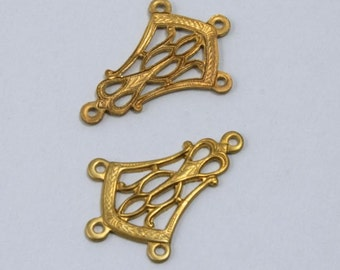 20mm Brass Filigree Ear Drop (4 Pcs)  #1690