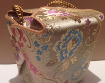 Brocade Take out Box, wristlet purse, Wedding gift box,  one of a kind purse, evening bag, Wedding purse, Bride purse, UNIQUE purse