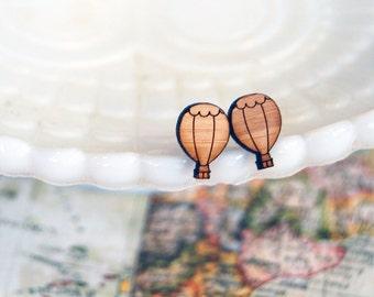 Laser cut wood post earrings- hot air balloon- vintage modern style
