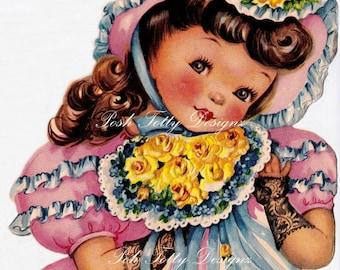 Vintage Little Girl Happy Birthday Digital Download Greetings Card Images (435)