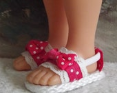 Hearts 4 Hearts Corolle Les Cheries Sandals Shoes Magenta Pink and white  With Lace and Ribbon Accents