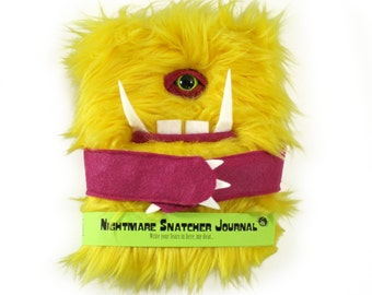 Nightmare Snatcher children's monster journal, yellow pink fuzzy monster book Trognuf