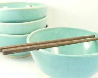 Pottery Noodle Bowl with chopsticks  Couples Wedding Something Blue Gift Stoneware Rice Bowls  / Chopstick bowl / Aquamarine bowls