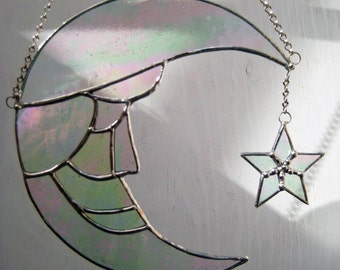 Stained Glass Man in Moon & Star Suncatcher is in Iridescent Clear Glass