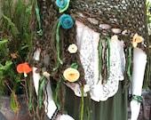 Forest Fairy Handspun Handknit Boho Art Yarn Shawl, Needle-Felted & Silk Flowers, Sari Silk, Greens, Includes Wooden Shawl Stick