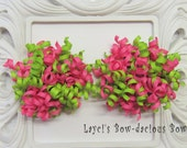 Petite Pink Limeaid Korker Set - korker hair bows - pink and green bows - korkers - ponytail bows - bows for girls - dance bows
