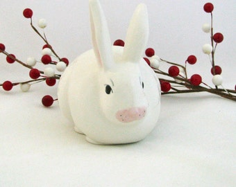 Ceramic Bunny Rabbit Cotton Ball Keeper or Holder in Soft White with Pink Ears and Nose Detailed Features HandPainted