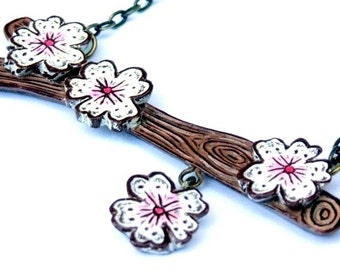 Out on A Limb - Tree Branch with Pink Cherry Blossoms Necklace - Woodland Woodgrain Faux Bois