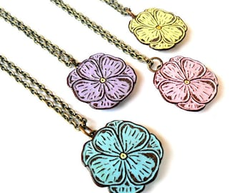Tiny Pastel Spring Flower Necklace, Pansy Necklace, Pink, Blue, Yellow or Lavender Flower Pendants,Gift for Mom, Bridesmaid Gift, Teen Gift