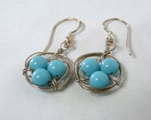 Birds Nest Earrings, Turquoise Stirling Silver Wire Wrapped Bridesmaid Earrings, Bridesmaid Jewelry