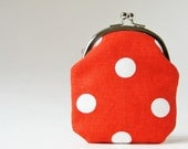 Coin purse - polka dots on red change purse red coin purse kiss lock coin purse simple retro white tomato red frame pouch frame purse