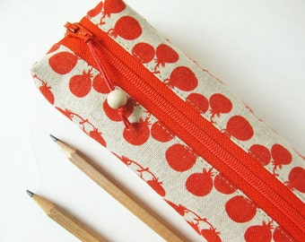 Pencil case - red berry linen zipper pouch natural linen fabric pencil case teacher gift stocking stuffer school red white holiday