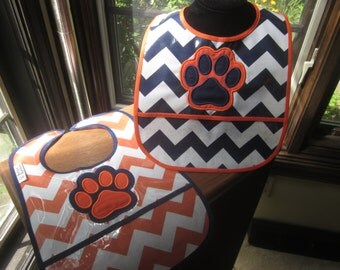 WATERPROOF WIPEABLE Baby to Toddler Wipeable Plastic Coated Bib Auburn Tigers