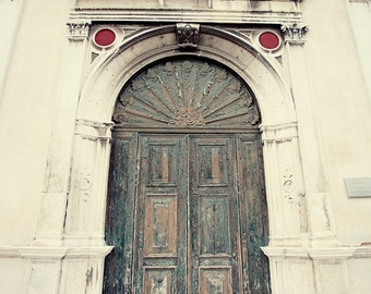 door photography, venice italy, church architecture, white decor, blue decor, europe travel photograph, venice photography, V01