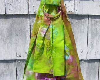 Doll Ring Sling - Toy Doll Carrier - Pleated Doll Sling - Doll Ring Sling - Baby Doll Sling - Baby Doll Ring Sling -  Lime Purple Batik