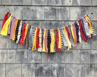 SALE CiRCuS BaNNeR Baby Photo Prop FaBRiC FRiNGe RaG GaRLaND Red Grey Yellow Black KiD RaCING DeCoR Boys Room SHaBBY CHiC Basket Stuffer RTS