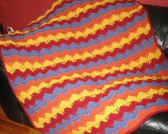 Fall Colors  - Hand Made Crocheted Afghan - BRAND NEW