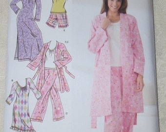 Simplicity 3696 Sewing Pattern Knit Nightgown Robe & Pajamas for Women Size AA XXS - Med.