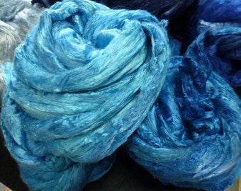 Hand Dyed Silk Top Aqua 4 Ounces