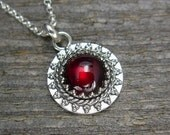 Garnet Necklace - Small Garnet Pendant in Sterling Silver on Sterling Silver Chain