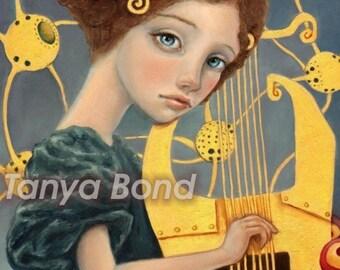 Music - surreal pop fantasy art portrait Klimt inspired harp 5x7 print of an original painting by Tanya Bond